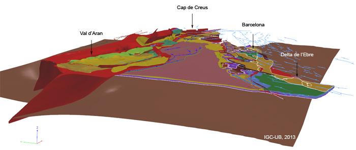 Vista general del Model geològic 3D de Catalunya