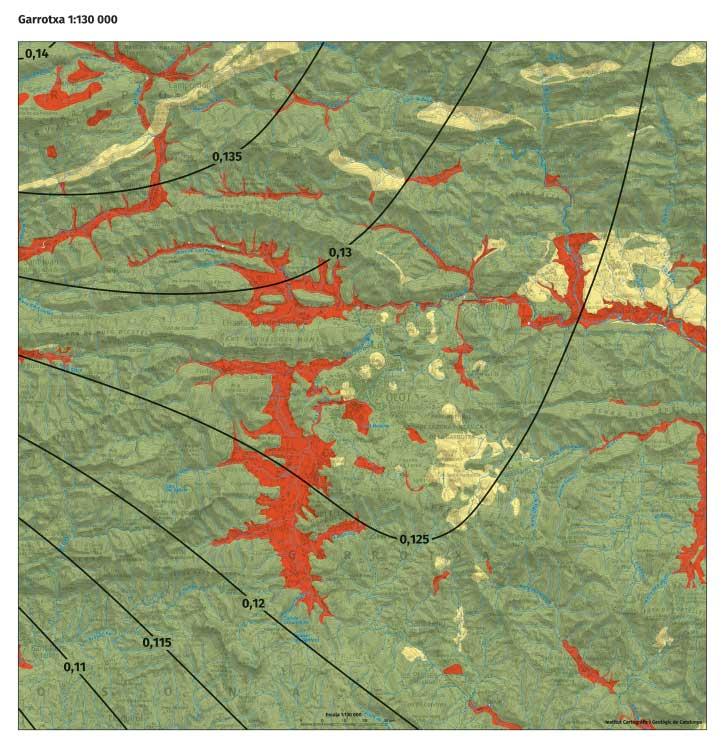 Detall del mapa a l'àrea de la Garrotxa