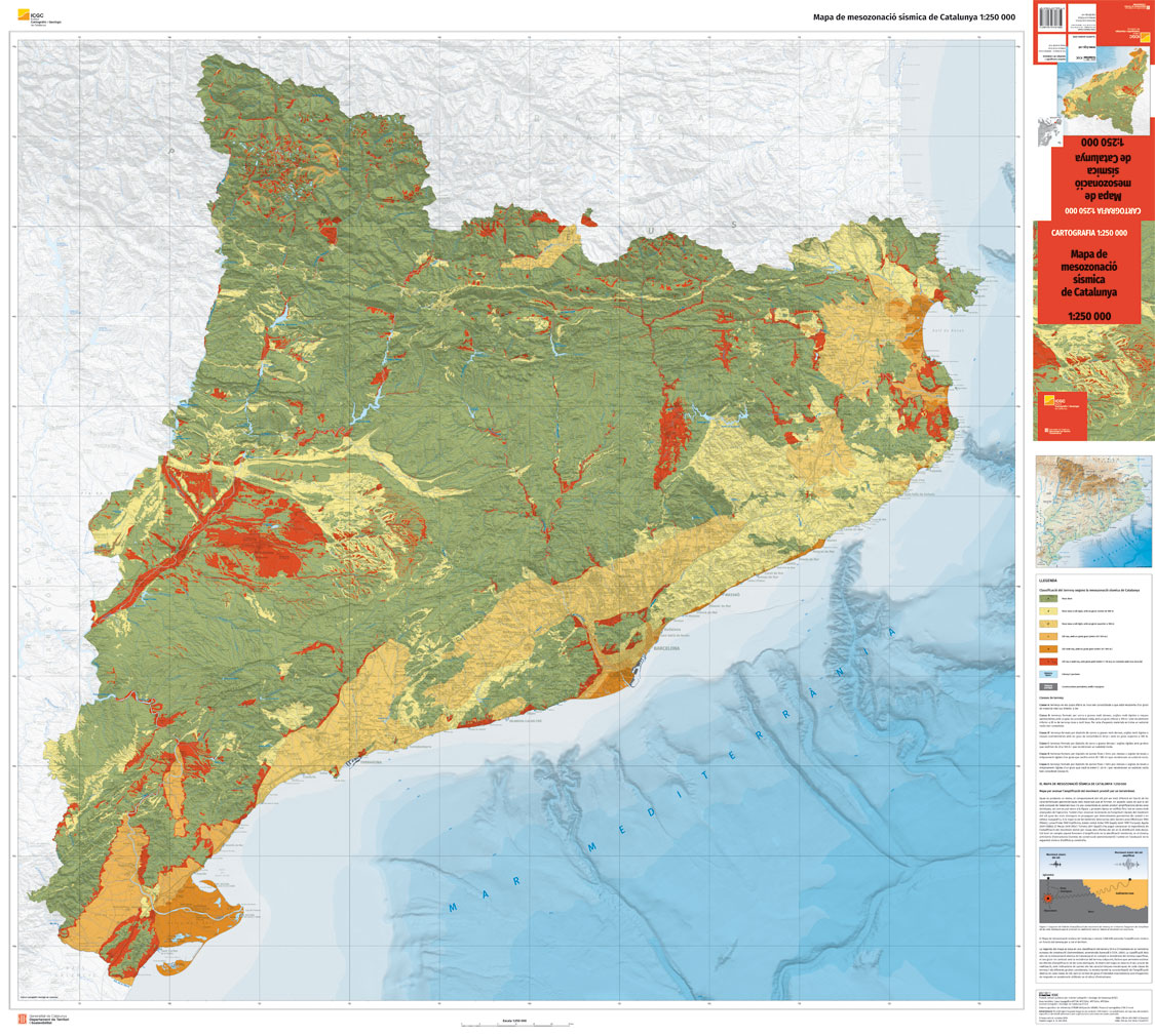 Mapa Urbanístic De Catalunya.Seismic Mesozonation Map For Catalonia 1 250 000 Institut