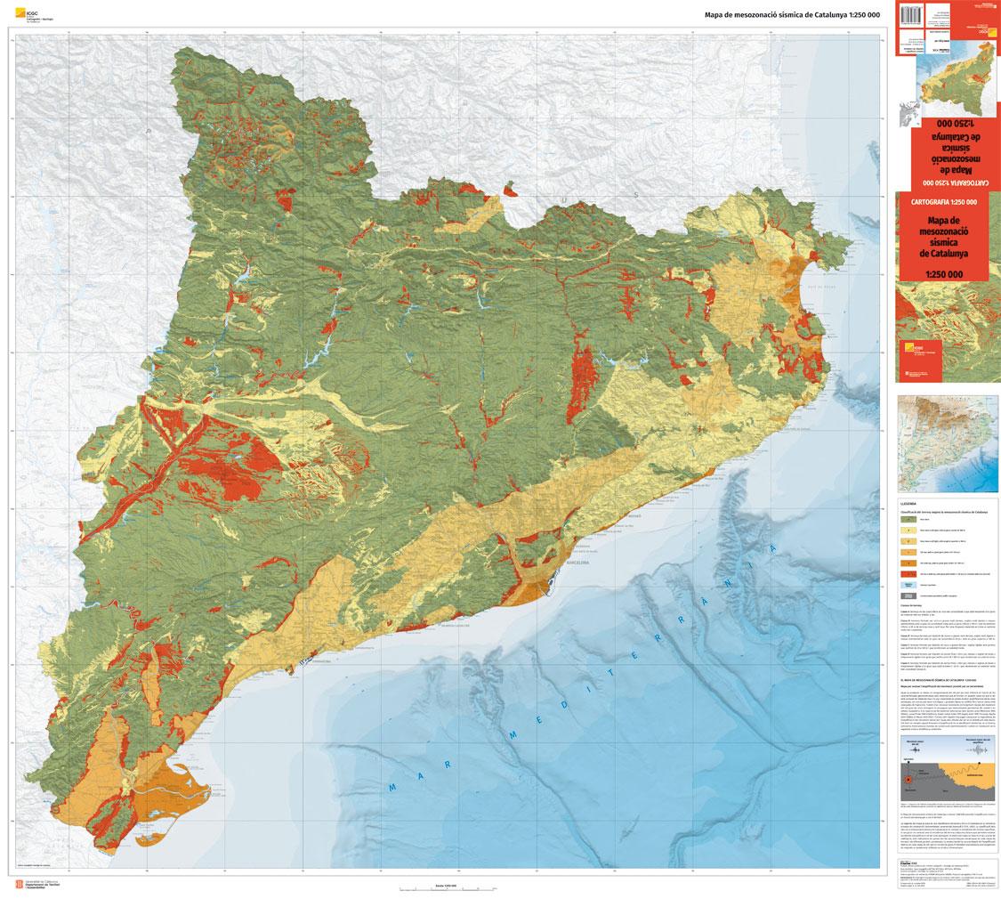 Mapa de mesozonació sísmica de Catalunya a escala 1:250.000 (versió reduïda)