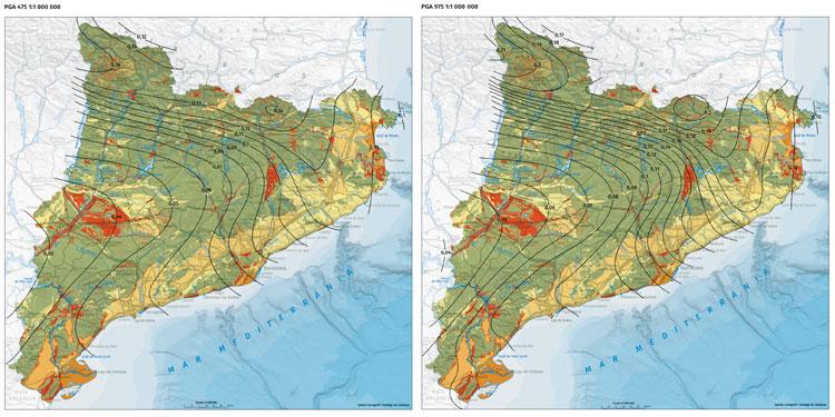Mapes d'isolínies dels valors màxims d'acceleració (PGA, en g) corresponents als períodes de retorn de 475 (10% de probabilitat de superació en 50 anys) i 975 anys (5% en 50 anys)