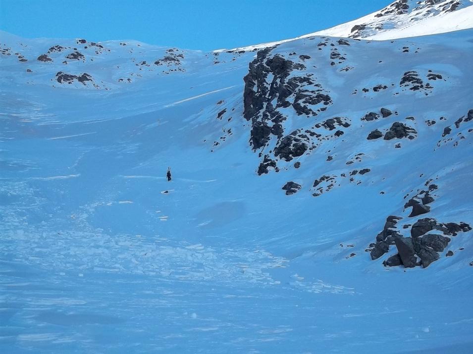 Imatge del dipòsit d'allau en blocs, amb un recorregut de 90 m. (Fotografia: Quim Merlos - Nivomet)