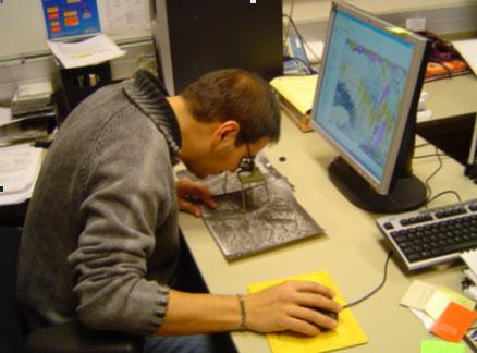 Cartografia en pantalla amb l'ajuda d'un estereoscop.