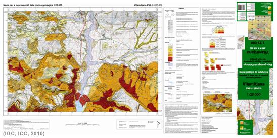Mapa per a la prevenció dels riscos geològics 1:25.000. Full de Vilamitjana 290-1-1 (65-23)
