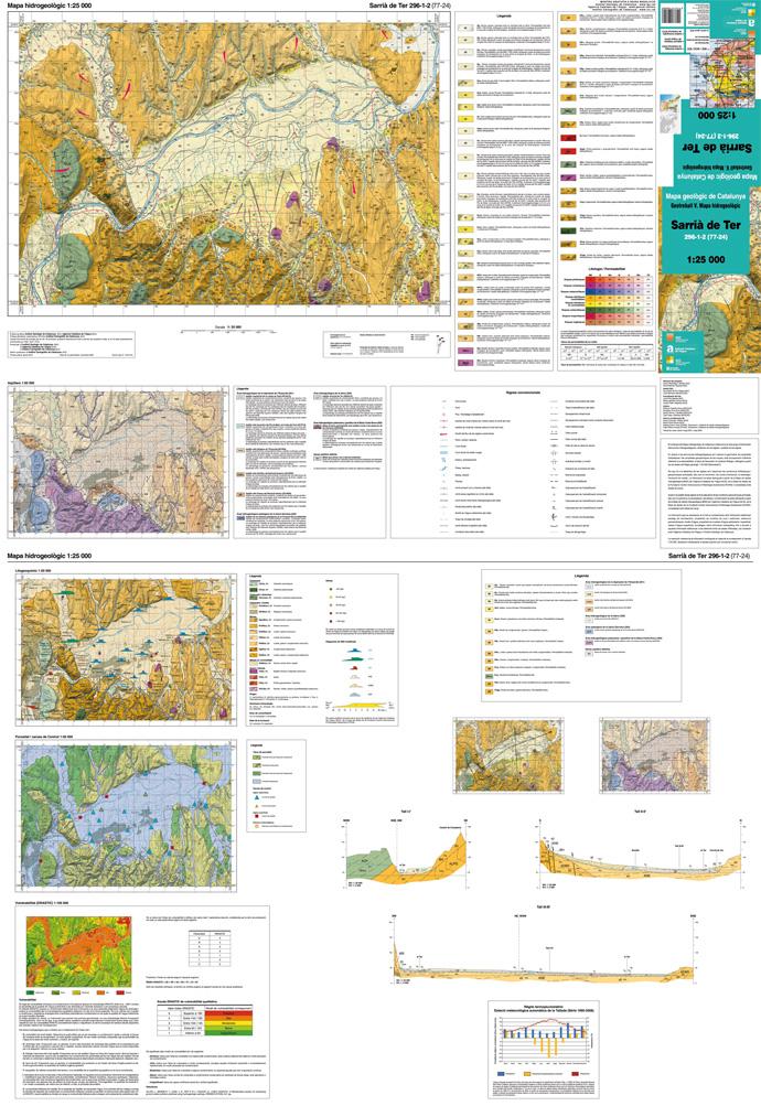 Imatge d'un full del Mapa hidrogeològic 1:25.000, Sarrià de Ter 296-1-2 (77-24)