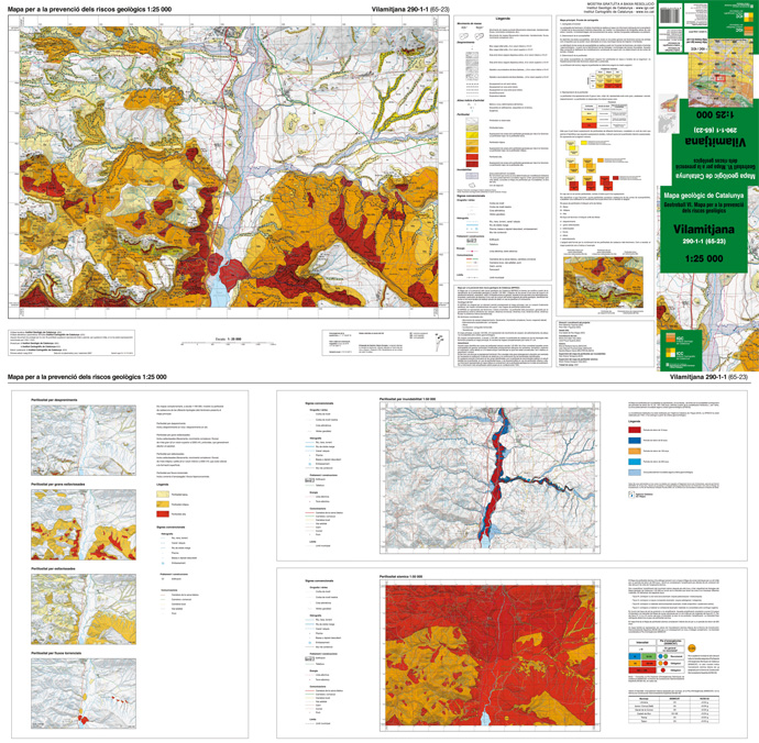 Picture of a sheet of the Map for the prevention of geological hazards 1:25 000 (access to the Catalog, in catalan)