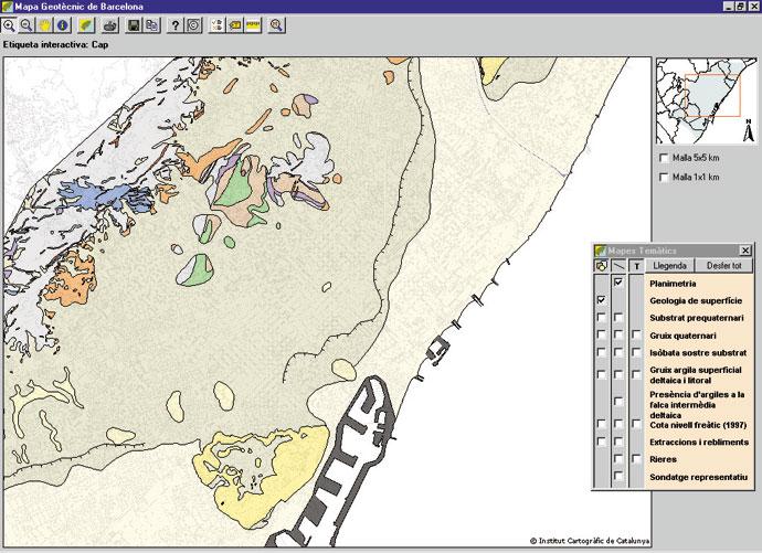 Visualització del Mapa geotècnic de Barcelona amb les capes de planimetria i geologia de superfície seleccionades.