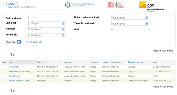 Interfície de cerca/consulta de LLISCAT amb el filtratge de la comarca del Bages