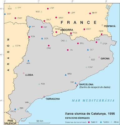 Mapa d'estacions sísmiques de Catalunya