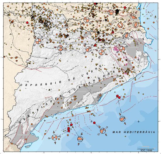 Mapa de sismicitat de Catalunya 1977-1997
