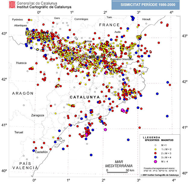 Sismicitat període 1986-2000
