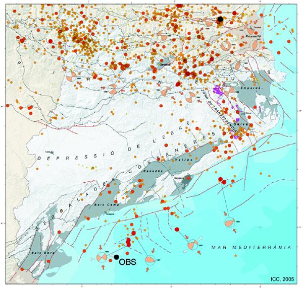 Localització de l'OBS sobre el Mapa de Sismicitat de Catalunya 1977-1997 (ICC, 1999)