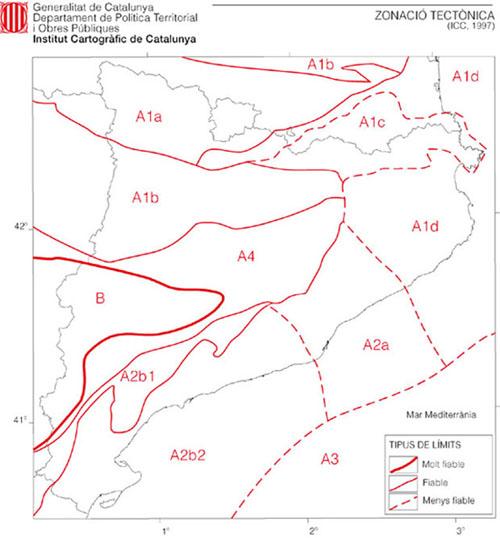 Mapa de la zonació tectònica