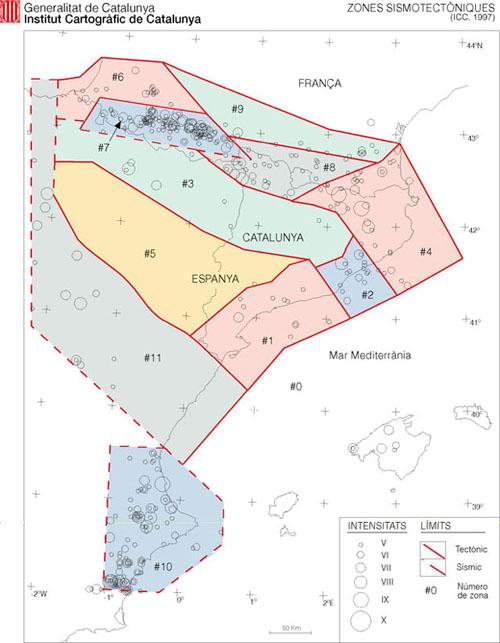 Mapa de la zonació sismotectònica