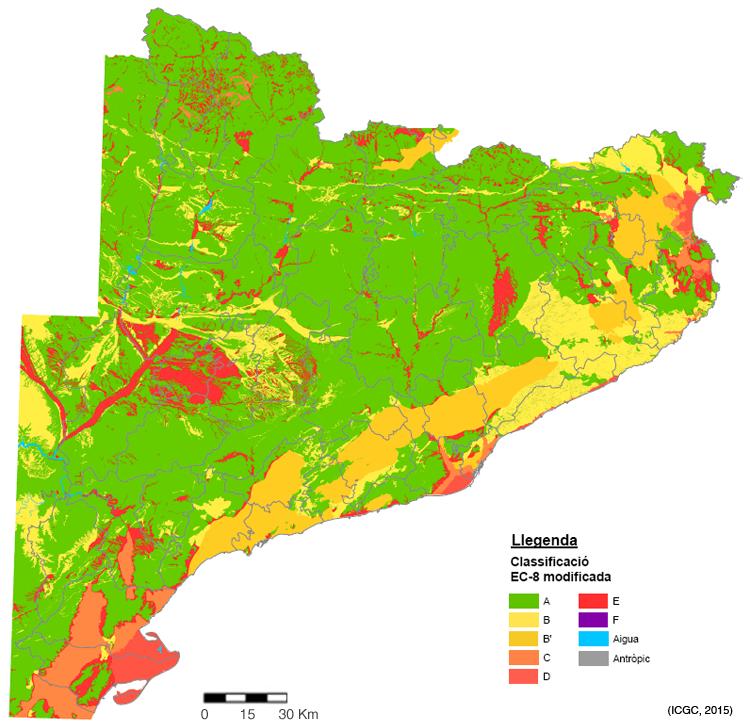Figura 2. Mapa de mesozonació Sísmica de Catalunya (IGC, 2013b)(*).