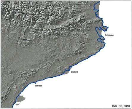 Figura 19: Reconstrucció de la línia de costa, en blau, cap a l'any 50, amb la situació de les principals ciutats romanes al litoral català