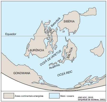 Figura 3: Situació de Gondwana, Laurència, Sibèria i Bàltica amb Avalònia ara fa 440 Ma