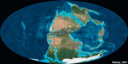 Figura 4: La configuració de la Terra ara fa 280 Ma: un supercontinent mundial, Pangea, i un oceà global, Pantalassa.