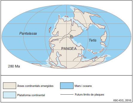 Figura 5: Restitució de Pangea, amb les terres emergides, les plataformes continentals i la distribució de les mars i els oceans. Hi són indicats els futurs límits de plaques i la posició de la futura Placa Ibèrica (Ib).