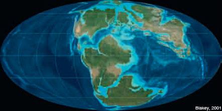 Figura 6: La configuració de la Terra ara fa 150 Ma, a finals del Juràssic. Es reconeixen el contorn de la Placa Nord-americana i la costa occidental d'Àfrica, separades per l'Atlàntic central, i la Placa Ibèrica.