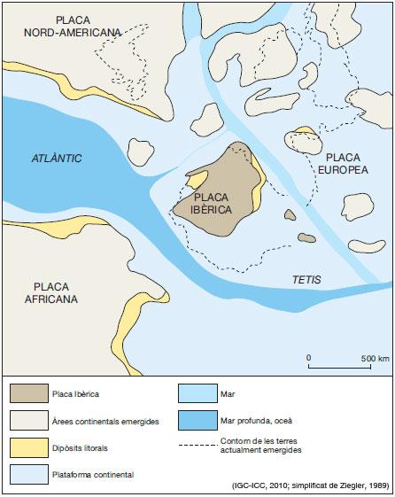 Figura 7: Restitució de la Placa Ibèrica fa 145 Ma, a finals del Juràssic.