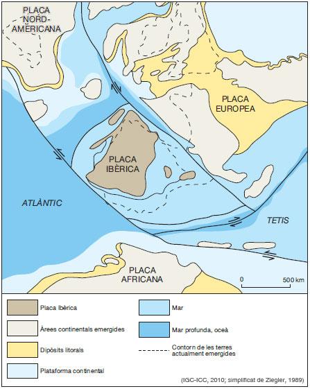 Figura 8: Restitució de la Placa Ibèrica fa 100 Ma, a finals del Cretaci inferior