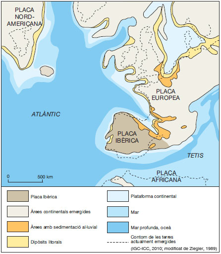 Figura 10: Restitució de la Placa Ibèrica fa 65 Ma, a finals del Cretaci i principis del Paleogen