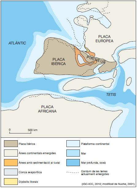 Figura 11: Restitució de la Placa Ibèrica ara fa 37 Ma, cap a finals de l'Eocè