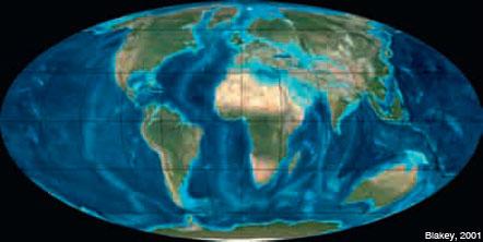 Figura 12: La configuració de la Terra ara fa uns 35 Ma, a l'Oligocè.