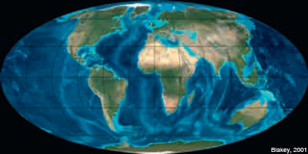 Figure 13: The configuration of the Earth 10 Ma ago was already similar to the present one. The vast Gulf of Tethys has been converted into an interior sea.