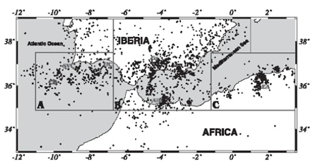 Figure 1. Seismotectonic context of the collision between the Iberia-Africa tectonic plates (Buforn et al., 2004).