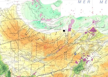 Figura 2. Mapa tectònic de la zona (Service Géologique du Maroc, 1984).