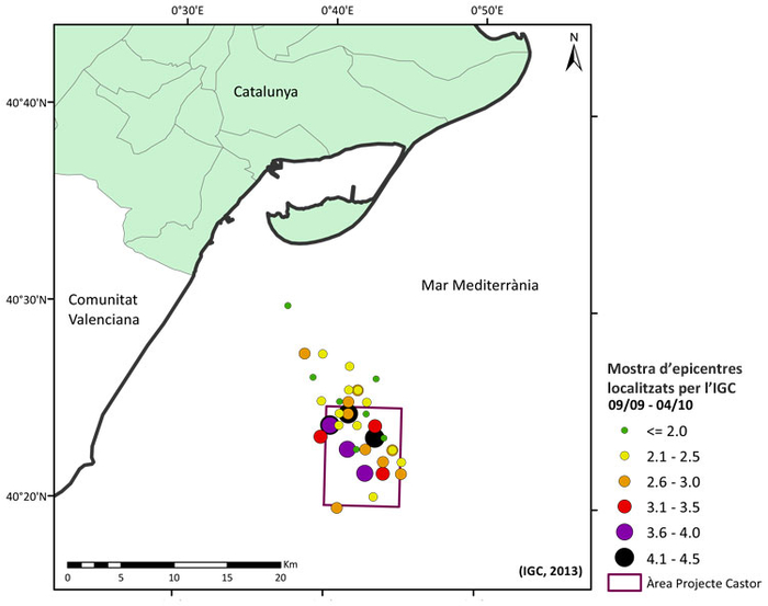 Figura 1. Mostra d'epicentres localitzats per l'IGC