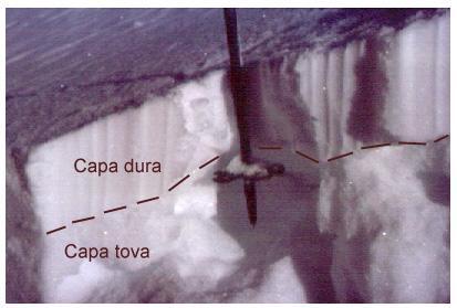 Test del bastó. Amb el bastó podem detectar capes toves inestables amagades per sota de nivells més cohesius. (Foto: Pere Oller)