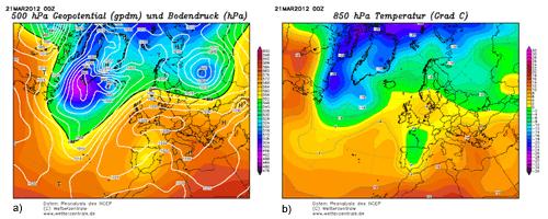Figura 2: Re-anàlisi de l'alçada geopotencial a 500 hPa i de la pressió en superfície (a) i de la temperatura a 850 hPa (b) pel dia 21 de març de 2012 (Font: www.wetterzentrale.de)