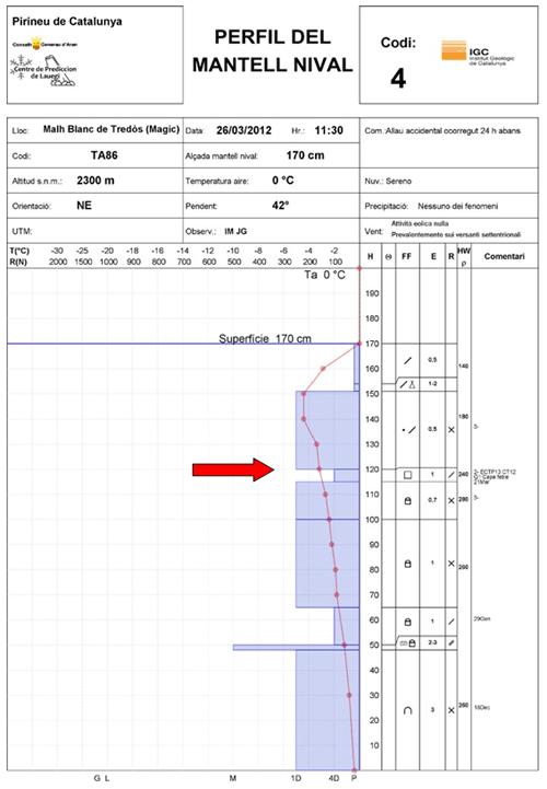 Figura 3: Perfil estratigràfic fet pels tècnics del Conselh Generau d'Aran al flanc de l'allau, 24 hores després de l'accident. La fletxa vermella indica la capa feble responsable de la ruptura.