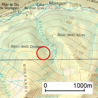 El cercle indica la zona on es va desencadenar l'allau.