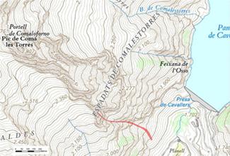 Localització de l'allau (Via l'Aranya Griposa, Presa de Cavallers)