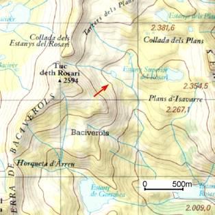 En vermell s'indica la zona on es va desencadenar l'allau