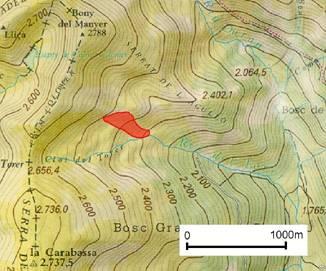 El cercle indica la zona on es va desencadenar l'allau