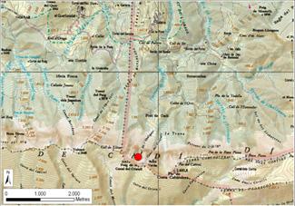 Localització de l'allau  (Canal de l'Ordiguer)