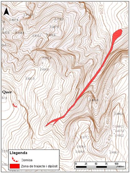 Mapa topogràfic de detall de l'allau