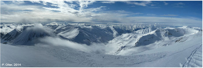 Figura 1: Fotografia general del Pirineu Oriental el 19/01/2014, després de la nevada del dissabte 18/1/2014 (autor: Pere Oller).