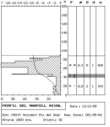 Sondeig i perfil estratigràfic realitzats el dia 12 de desembre a la zona de sortida de l'allau.