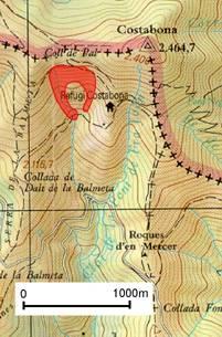 En vermell s'indica la zona on es va desencadenar l'allau.