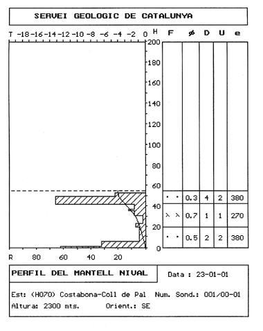 Sondeig i perfil estratigràfic realitzats tres dies després al lloc de l'accident.