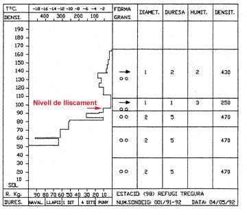 Sondeig i perfil estratigràfic realitzat el dia següent a la zona de l'allau.