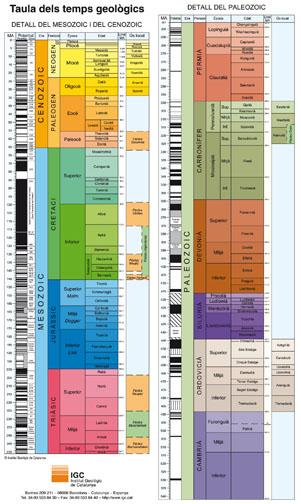 La taula dels Temps Geològics en format de punt de llibre