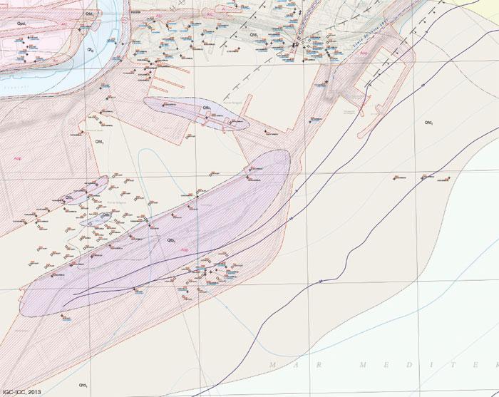 Extret del Mapa geològic de zones urbanes 1:5.000. Geotreball III (Full de Tarragona)