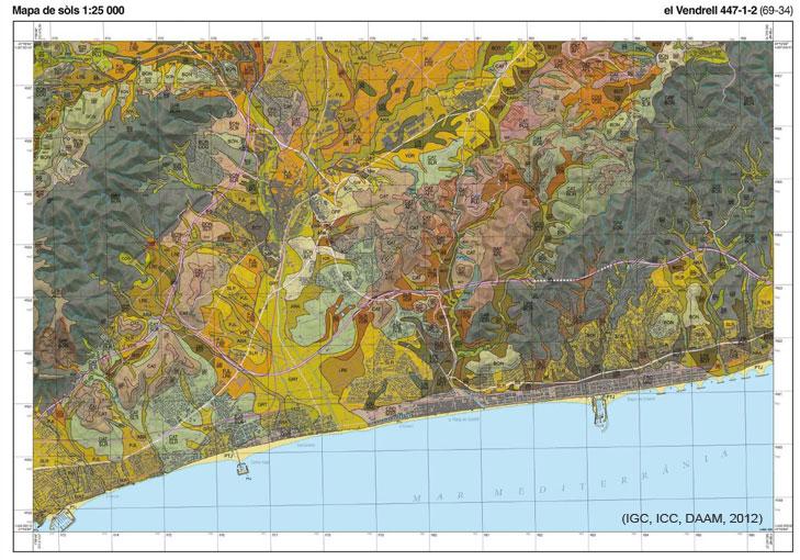 Figura 2. Mapa de sòls 1:25 000 del full del Vendrell 447-1-2 (69-34)